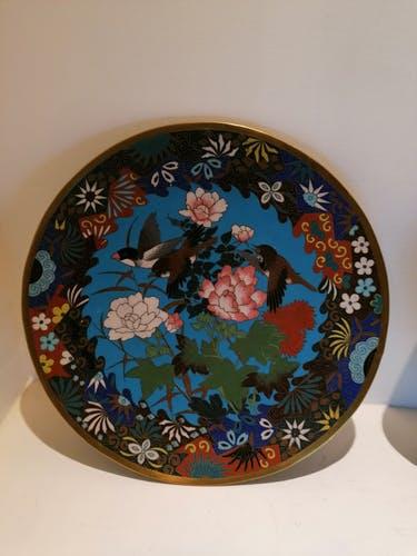 Image illustrant des Assiettes Cloisonne Email et laiton pour la brocante de castres Vintage french Art