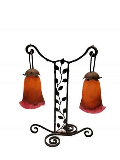 Lampe signée Art Déco 1930 fer forgé Frères Müller Lunéville Brocante Castres (Tarn)