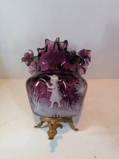 mary gregory   face vase verre émaillée Epoque XIXème siècle   brocante Castres