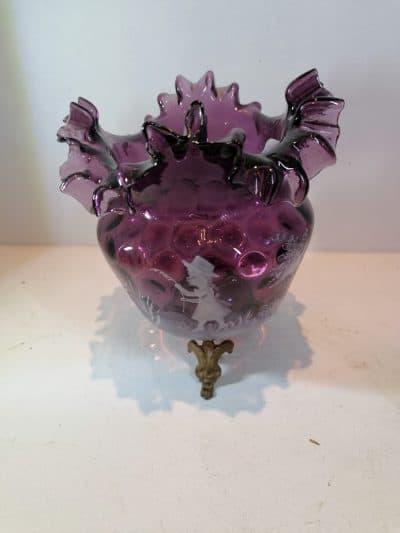 mary gregory   vase verre émaillée Epoque XIXème siècle   brocante Castres