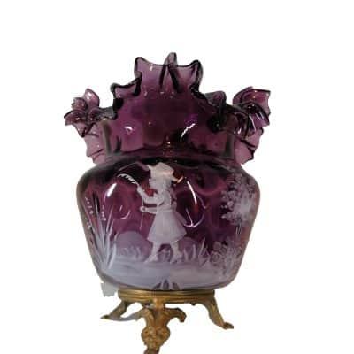 mary gregory | vase verre émaillée Epoque XIXème siècle | brocante en ligne et à Castres