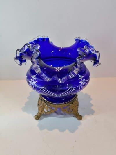 vue du Vase verre émaillé bleu cobalt   Epoque XIXème   brocante   Castres   brocante en ligne