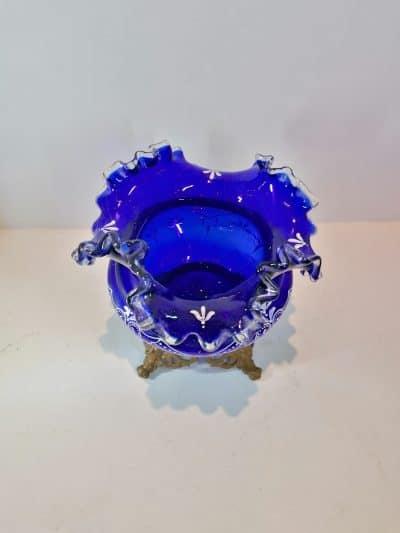 vue du haut du Vase verre émaillé bleu cobalt   Epoque XIXème   brocante   Castres   brocante en ligne   vintage French Art