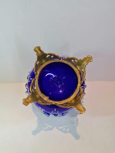 vue de dessous du Vase verre émaillé bleu cobalt   Epoque XIXème   brocante   Castres   brocante en ligne   vintage French Art